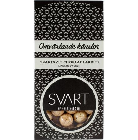 Omväxlande känslor – Svart & vit chokladlakrits – Svart af Hälsingborg