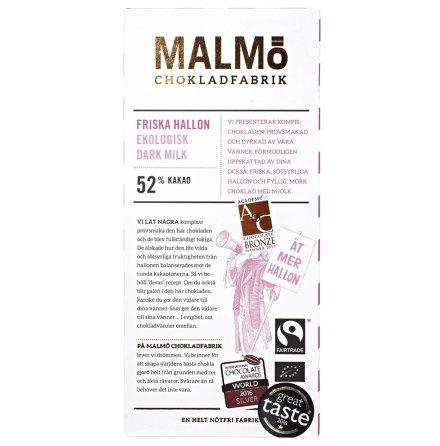 Friska hallon, mörk mjölkchoklad 52 % - Malmö Chokladfabrik