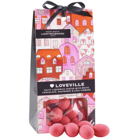 ❤ Loveville - saltlakrits dragerad i vit choklad med smak av hallon och chili - Lakritsfabriken Ramlösa