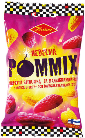 Hedelmä Pommix – syrliga citron- och jordgubbskarameller – Halva lakrits