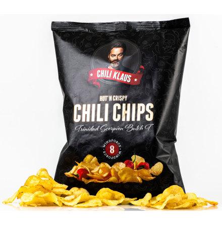 Chilichips vindstyrke 8 – Trinidad Scorpion Butch T – Chili Klaus