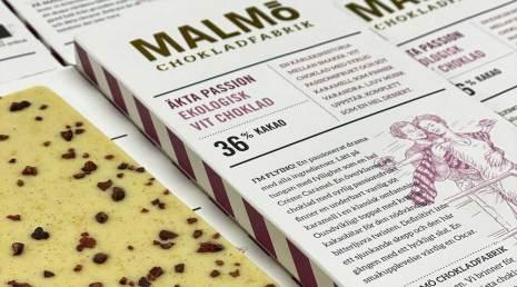 Äkta passion vit choklad 36 % - Malmö Chokladfabrik