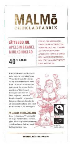 Tegel jättegod jul 2020 – apelsin & kanel, mjölkchoklad 40 % - Malmö Chokladfabrik