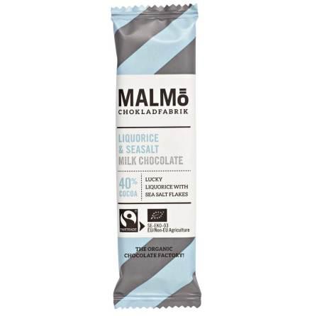 Mjölkchoklad med lakrits och havssalt 40 % - Malmö Chokladfabrik