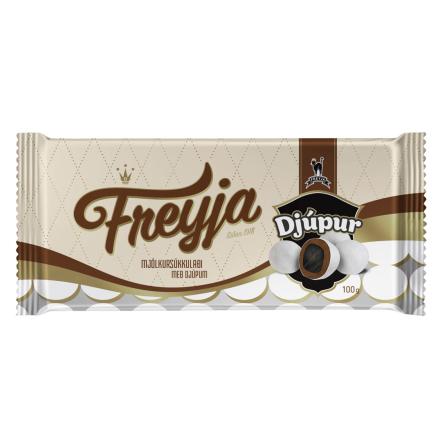 Sukkulaði Djúpur – Chokladöverdragen saltlakrits med ett sockerskal - Freyja