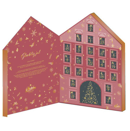 Chokladkalender/adventskalender med dessertchoklad & praliner 2021 – Sv. Michelsen