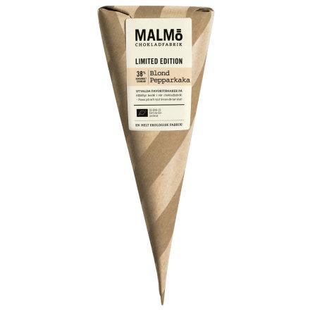 Blond Pepparkaka, ekologisk vit choklad 38 % kakao med smak av pepparkaka. – Malmö Chokladfabrik